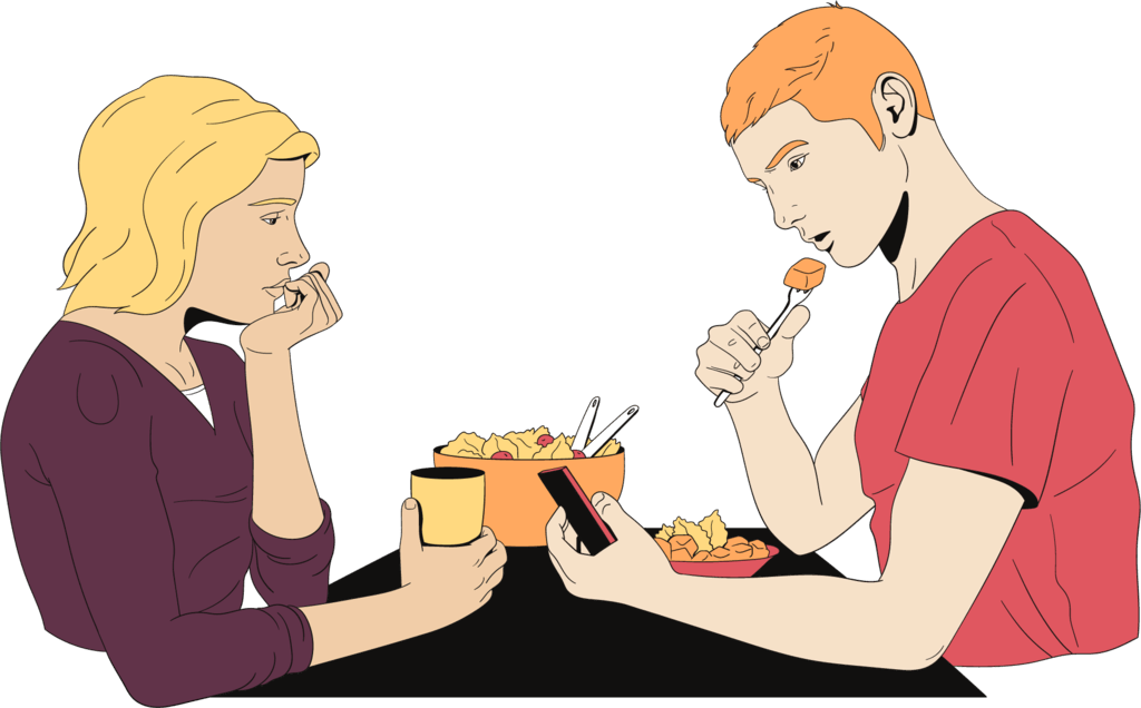 A couple has dinner together and doesn't even look at each other anymore.