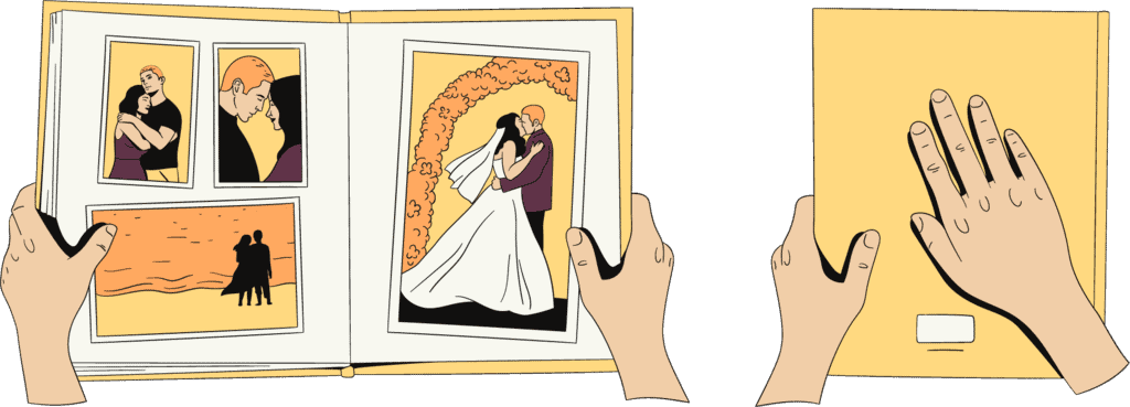 A woman closes a book with wedding photos and thereby says to herself that the relationship really is over now.