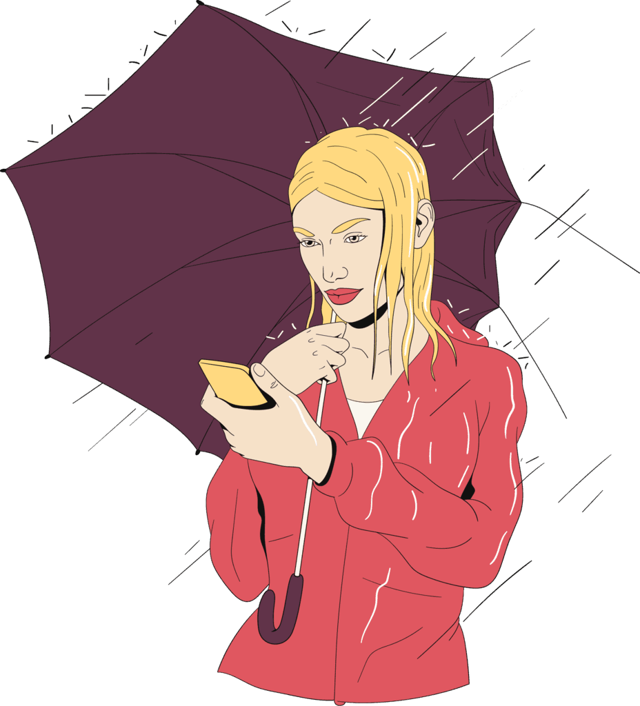 Woman smiling at her phone in the rain