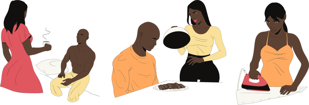 Woman taking care of a man